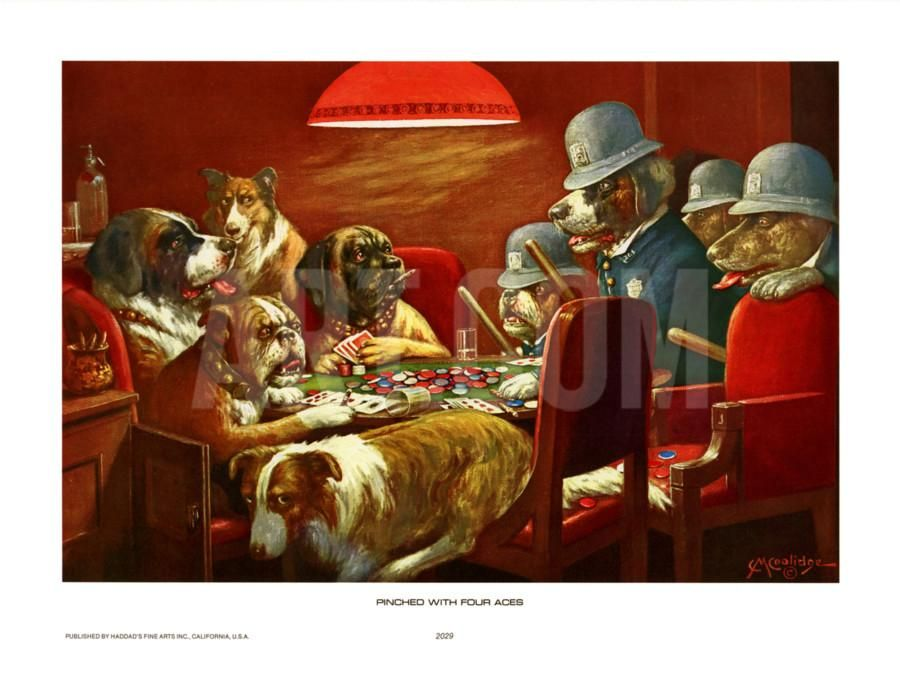 Pinched With Four Aces Art Print By Cassius Marcellus Coolidge At Art Com Dog Art Dogs Playing Poker Painting