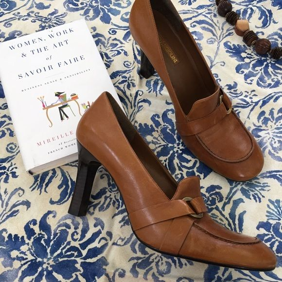 "Enzo Angiolini | Heeled Tan Loafers Great used condition. A few marks here and there, soles are in excellent condition. Vintage inspired. Leather upper. Heel height is 3 3/4"". Enzo Angiolini Shoes Heels"