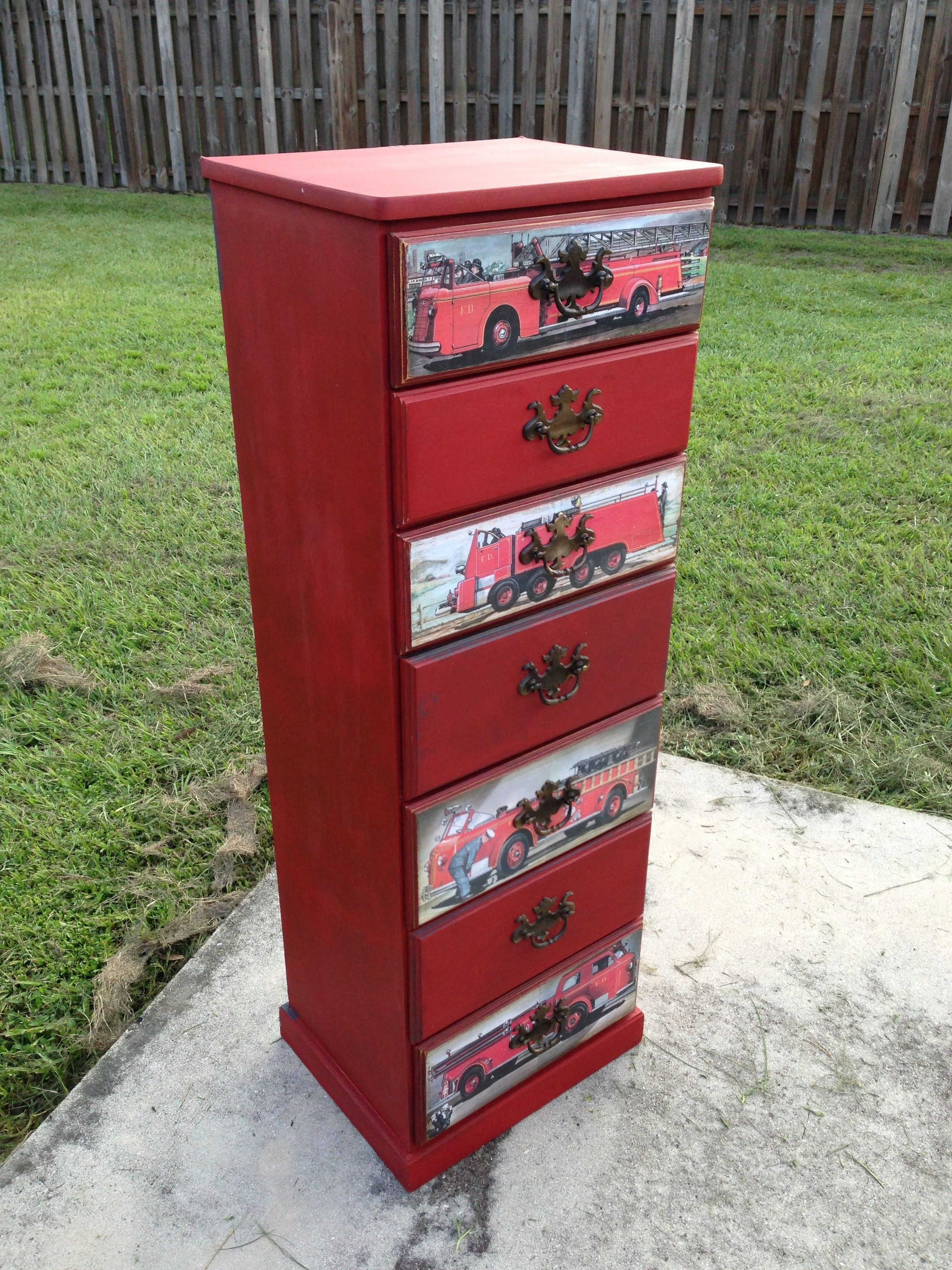 Fire Truck Dresser.  Emperor's Silk over Graphite.  Fire Truck pictures from vintage children's book decoupage on drawer fronts.  See more on my Facebook page, Dresser Up