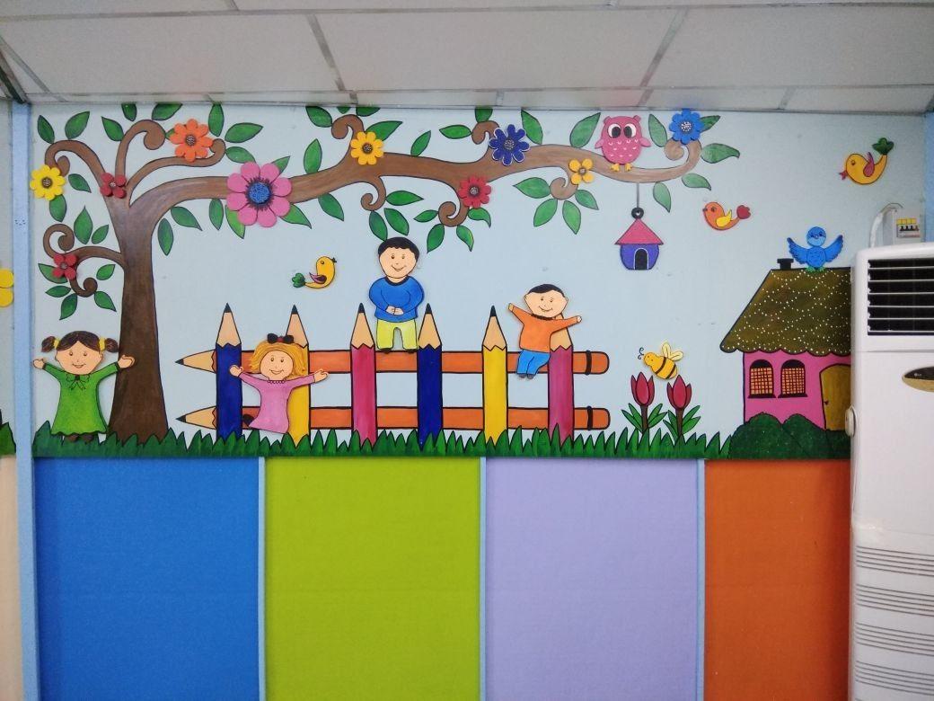 Wall Mural Preschool Wall Painting Thermocol Art My School Art