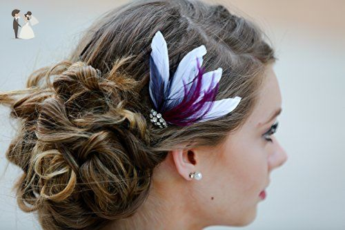 White Dark Purple Hair Fascinator Feather Accessories Wedding