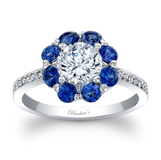 Barkev's Blue Sapphire Engagement Ring 7661LBS
