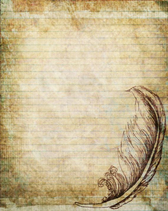 Printable Journal Page, Pen and Ink Drawing of a Feather - notebook paper download