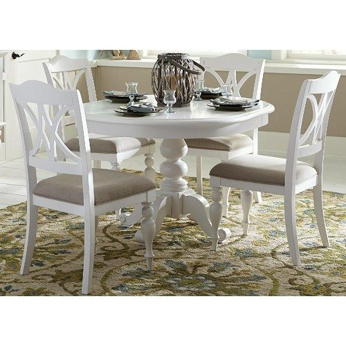 Summer House I 5 Piece Round Table Set With Turned Legs By Liberty