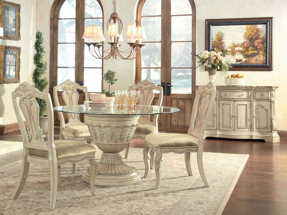 CAROLINA 5pcs TRADITIONAL ROUND PEDESTAL DINING ROOM TABLE CHAIRS SET  FURNITURE