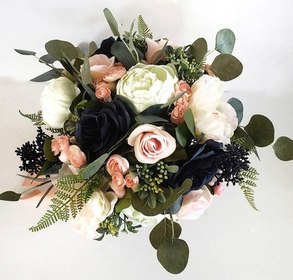 Navy Rose and White Peony Bridal Bouquet, Blush Pink Rose Bouquet, Eucalyptus Wedding Bouquet, Spring Wedding, Fake Flowers, Artificial