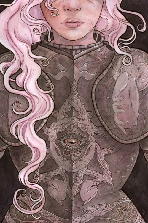 thebonegirl:  Datura: Witch Armor Watercolor Think I'm done this other than some minor tweaking after I have crit on thursday. I enjoyed doing this one a lot. Edit: just realized I had flux on when I was color correcting, so I fixed that.