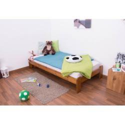 Einzelbett/ Gästebett Kiefer Vollholz massiv Eichefarben A10, inkl. Lattenrost - Abmessung 90 x 200 #gamingrooms