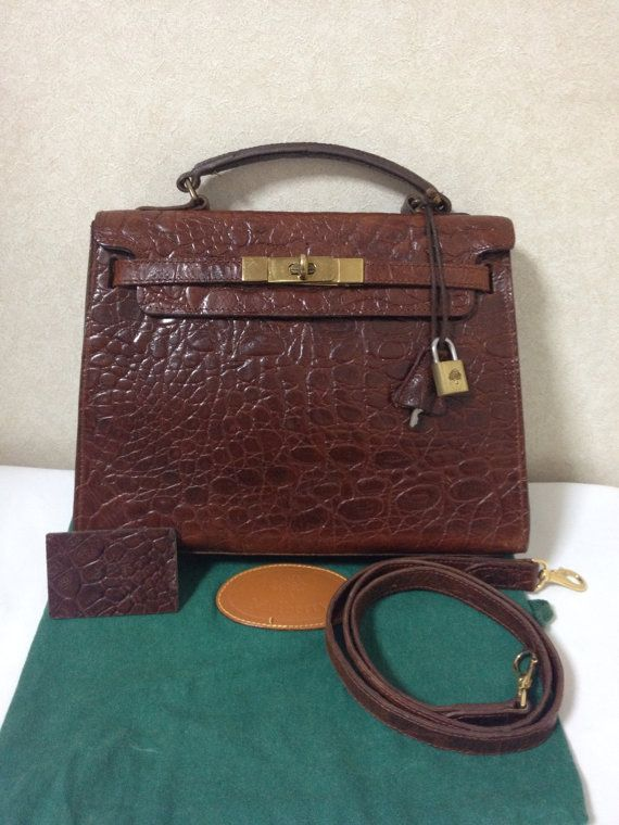 1f6af566f8ba Vintage Mulberry croc embossed leather Kelly bag with shoulder strap ...