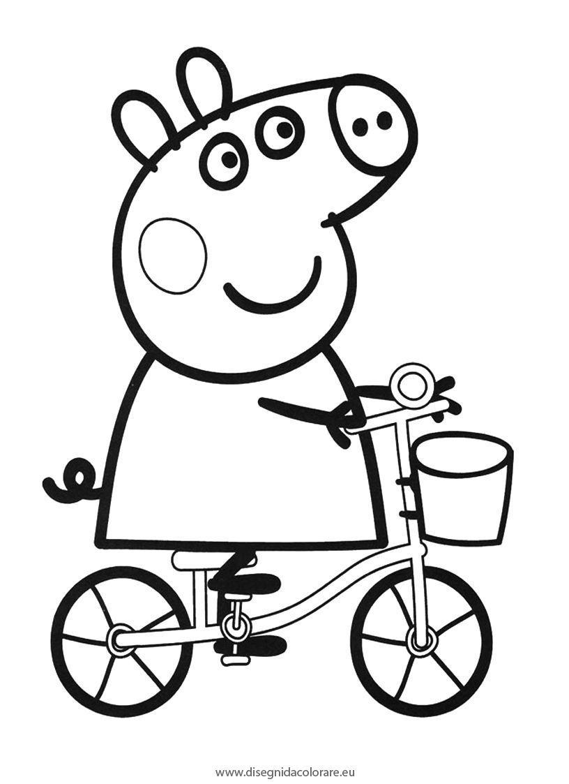Peppapig in bicicletta da colorare #bimbimegastore #peppapig ...