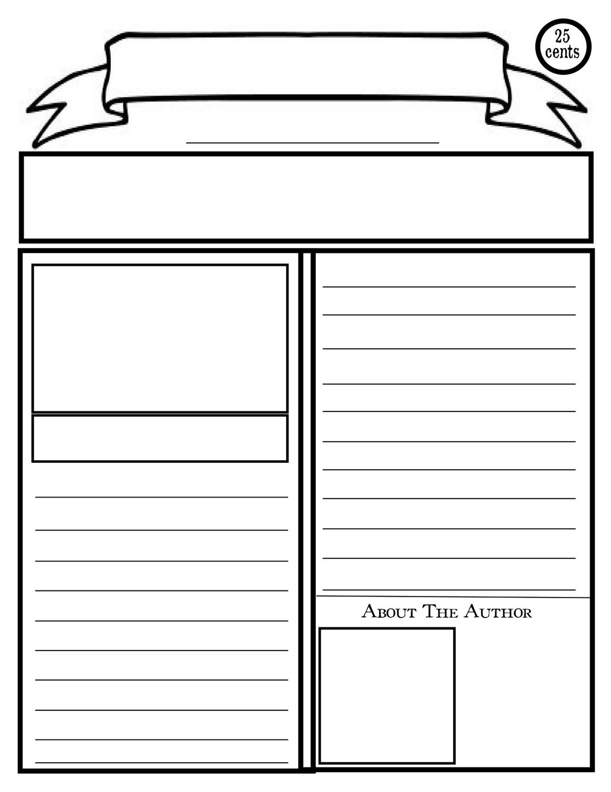 Line Drawing Newspaper : Blank newspaper template for kids printable homework