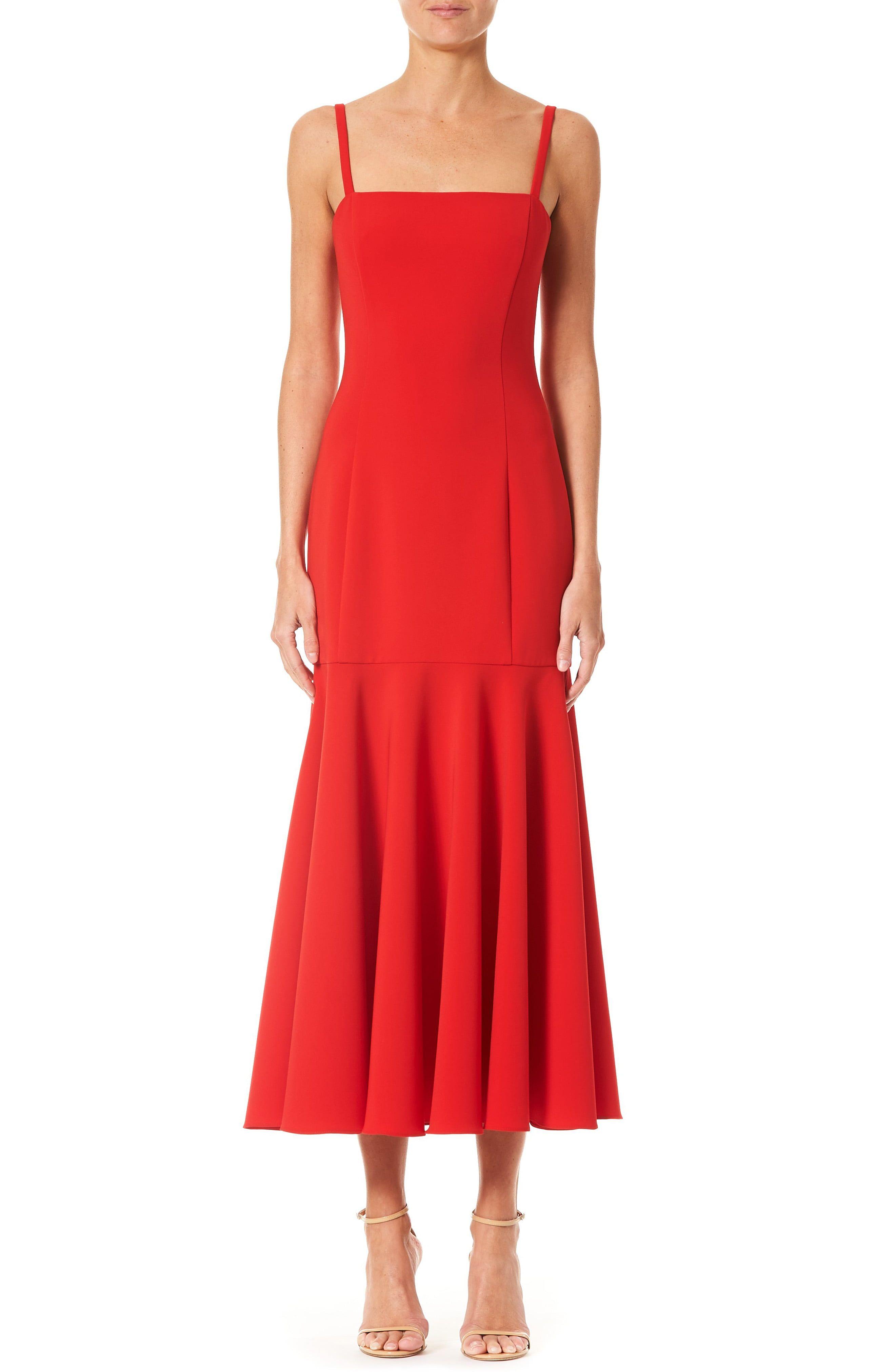 Carolina Herrera Ruffle Hem Midi Dress Nordstrom Midi Sheath Dress Dresses Carolina Herrera Dresses [ 4048 x 2640 Pixel ]