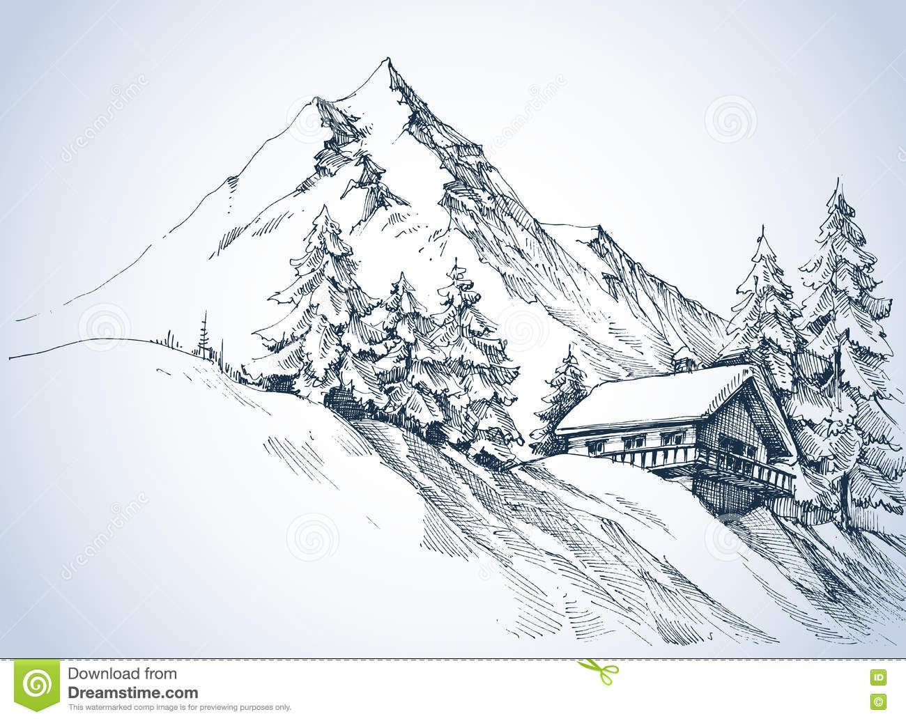 Jared Kohn Mountain Lines Brings Us A Cool Penandink Nature Illustration Of A Mountain Cabin Overloo Risunki Perom Ruchechnoe Iskusstvo Naskalnaya Zhivopis