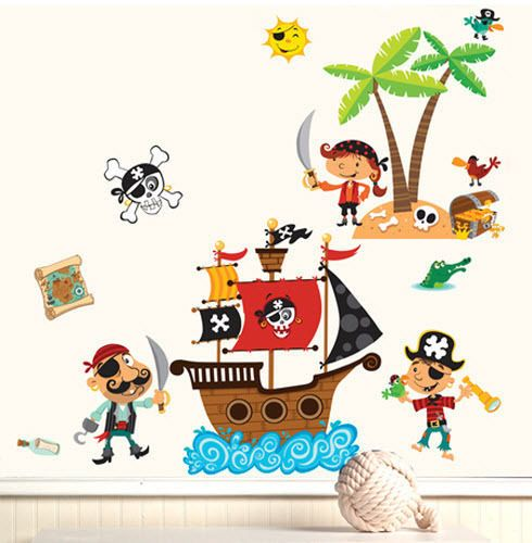 Wallies Pirates Wall Stickers Mural 16 Big Decals Ship Treasure Map Skull Decor Kids Room Wall Decor Wall Stickers Murals Kids Wall Decor