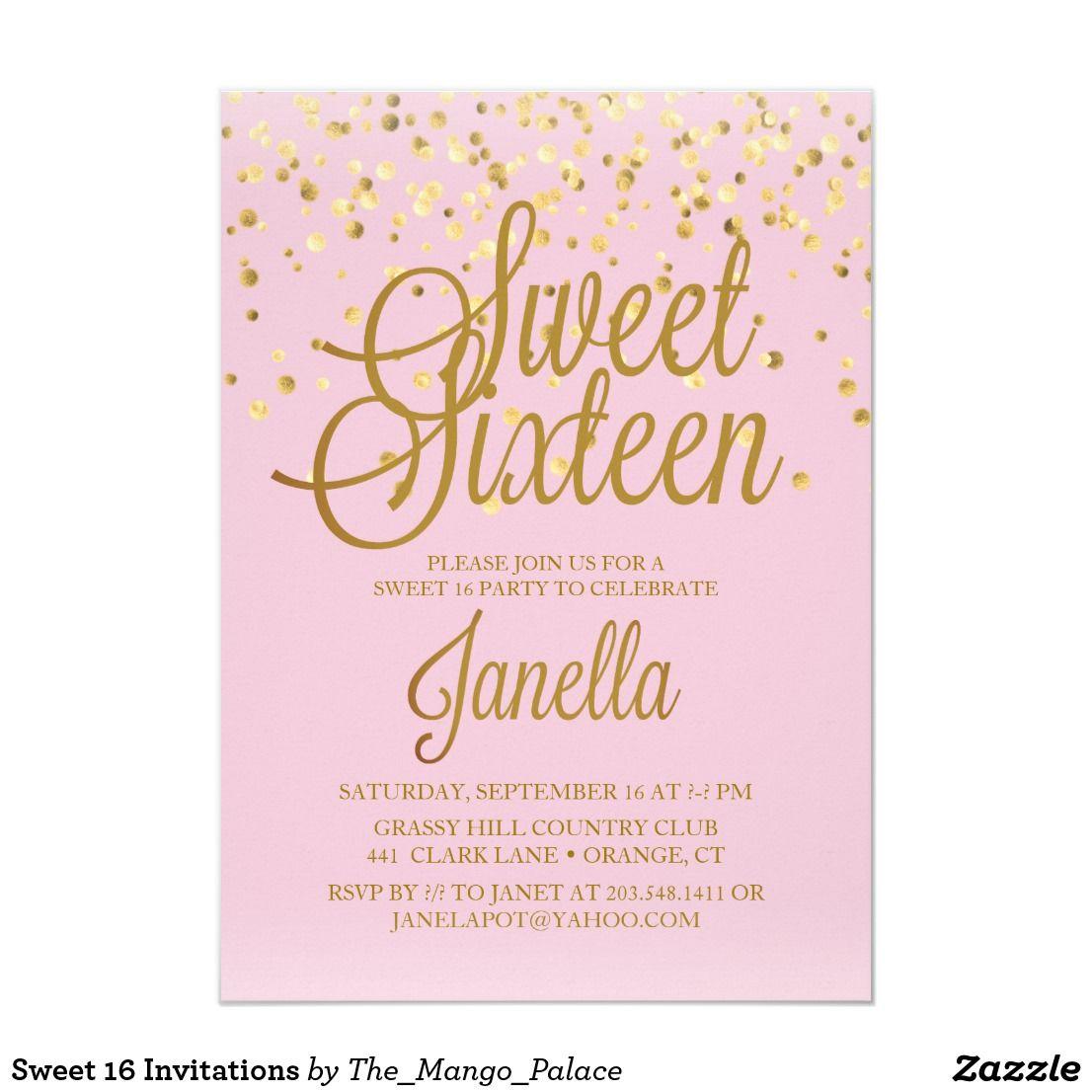 Sweet 16 Invitations Zazzle