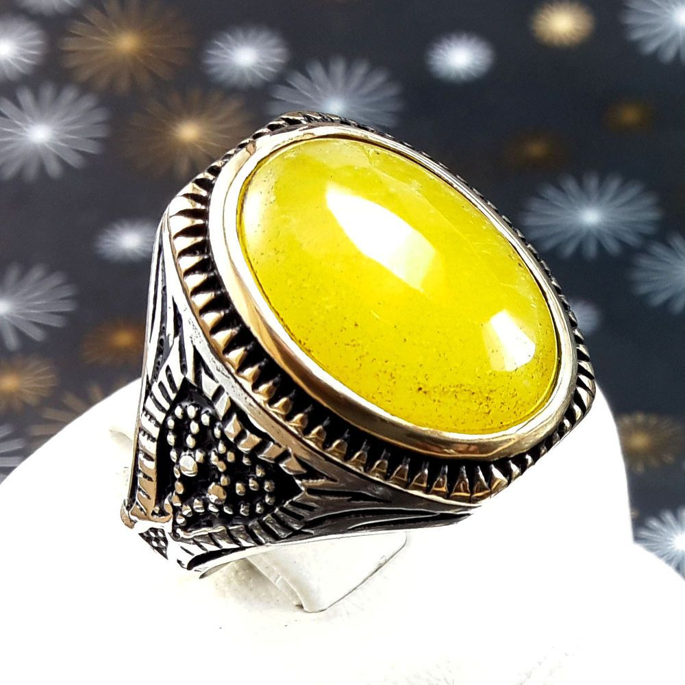 EPIC! Turkish Yellow Agate Topaz Stone 925K Sterling Silver Men ...