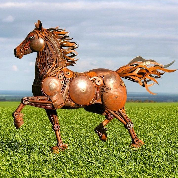Les sculptures en recyclage de ferraille de Jordan Sprigg - http://www.2tout2rien.fr/les-sculptures-en-recyclage-de-ferraille-de-jordan-sprigg/