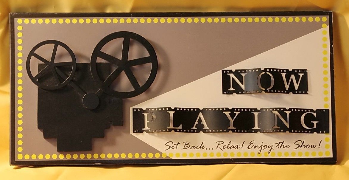 3d Wood And Metal Now Playing Wall Plaque Sign Art Home