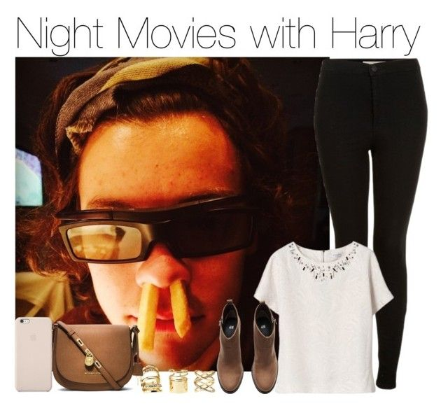 """""""Night Movies with Harry"""" by vane-abreu ❤ liked on Polyvore featuring Topshop, Charlotte Russe, H&M, MICHAEL Michael Kors and Black Apple"""