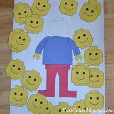 East Coast Mommy: The Ultimate DIY LEGO Party. printable for pin the head on the lego man, design your own minifigure printable, and a few more simple game ideas.