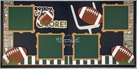 Premade Football Scrapbook Page Layout Paper Piece Die Cuts My
