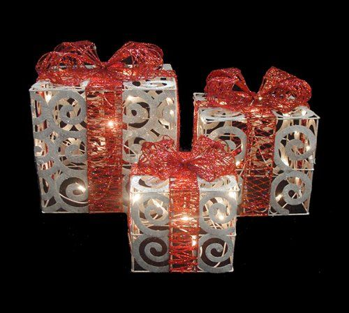 Lighted gift boxes christmas decorations decorative design lighted gift boxes christmas decorations set of 3 sparkling white swirl gift boxes lighted christmas yard aloadofball Image collections