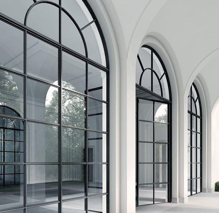 Industrial Kitchen Windows: Black Steel Arched Windows