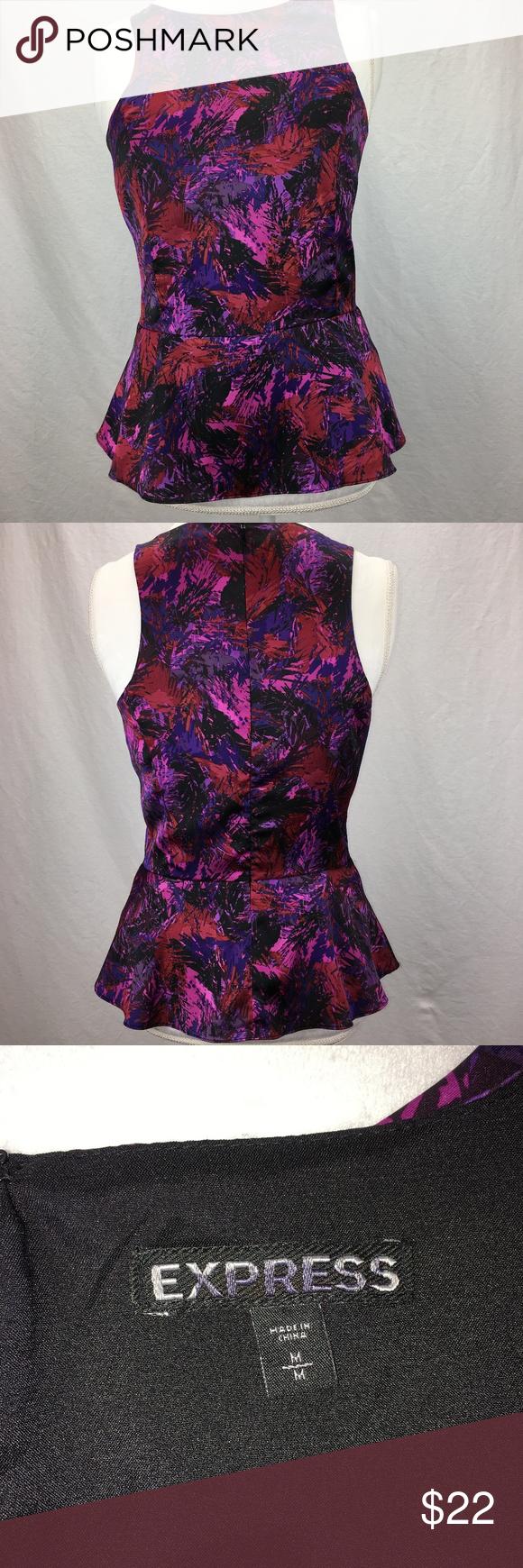 f4365066fe9c3 EXPRESS fitted sleeveless peplum blouse SZ M EXPRESS cutaway sleeveless  peplum blouse. Dainty and Elegant