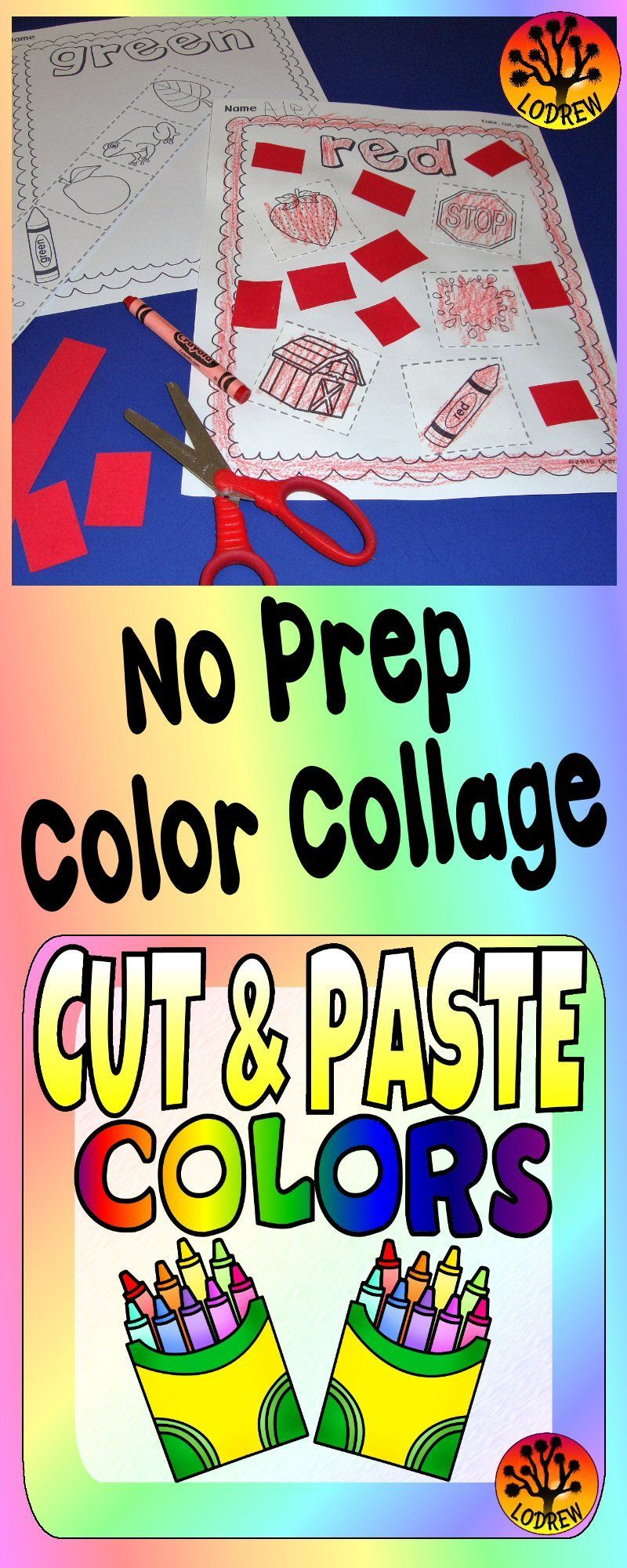 Color Centers Activities Fine Motor Colors Cut And Paste Glue ...