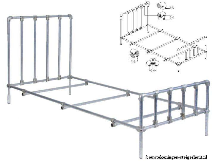 Bedwelming Bed maken van steigerbuizen en buisverbinders, gratis bouwtekening @SD17