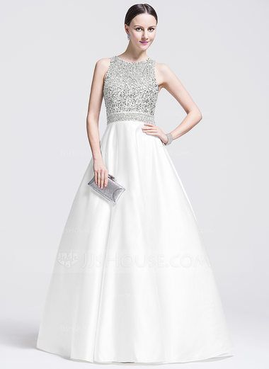 Ball-Gown Scoop Neck Floor-Length Satin Prom Dresses With Beading ...