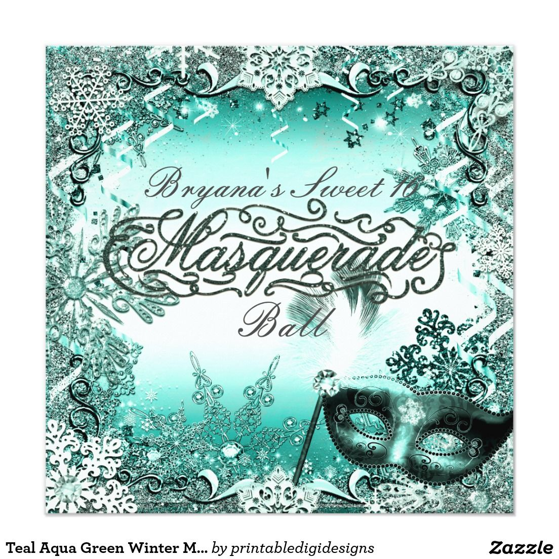 febca153d7dc Teal Aqua Green Winter Masquerade & Snowflakes Invitation | Zazzle ...