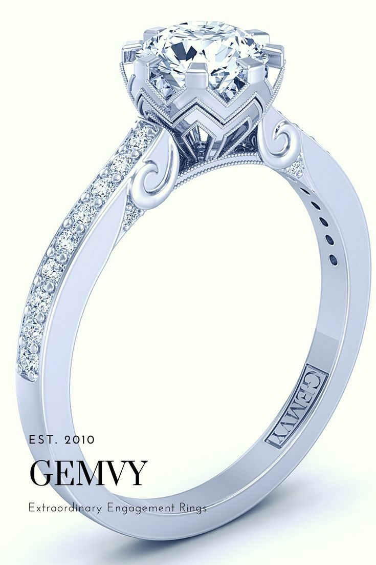 Pave diamond engagement ring a from gemvy rejoice