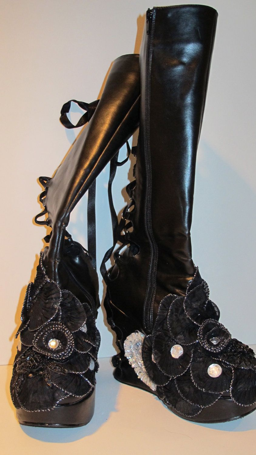 Oh Mon Dieu Womans Black Leather Combat Boots With Wedge Heel