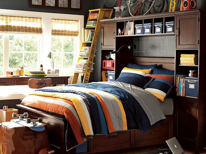 Boys Striped Bedding Amp Hampton Bold Sport Bedroom Pbteen