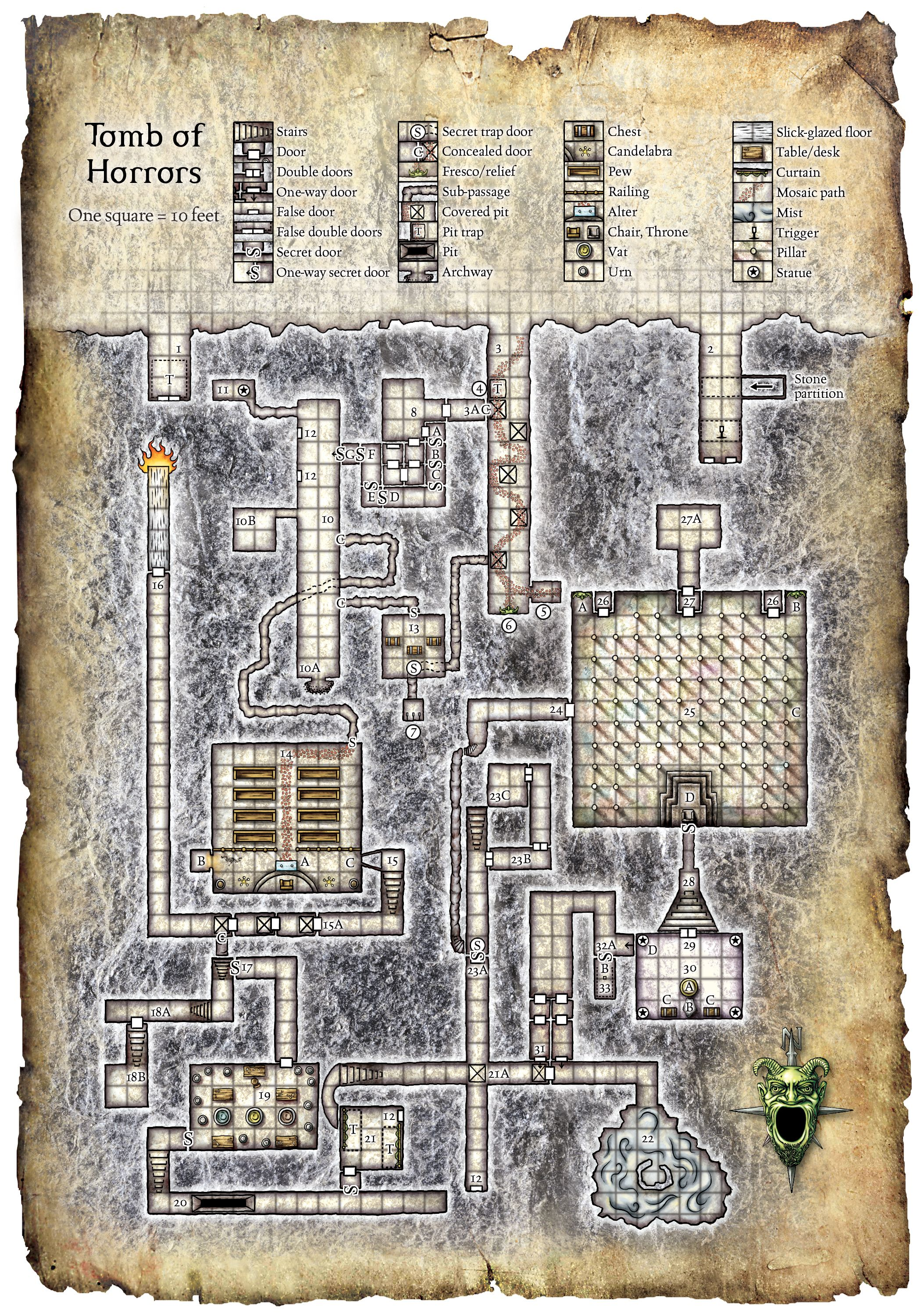Tomb Of Horrors Map Tomb Of Horrors | D&D Maps | Ready Player One, Dungeon maps, Map