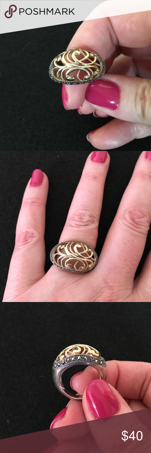 Judith Jack fashion 2-tone ring. NWT | Judith jack, Gold filigree ...
