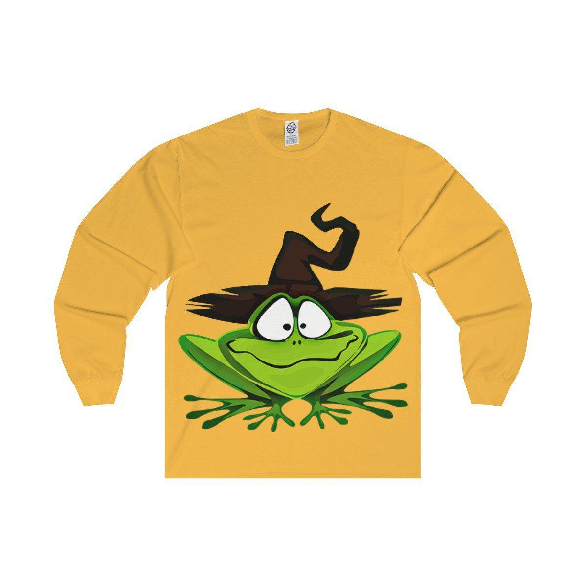 Frog witch long sleeve tee halloween novelty halloween tee