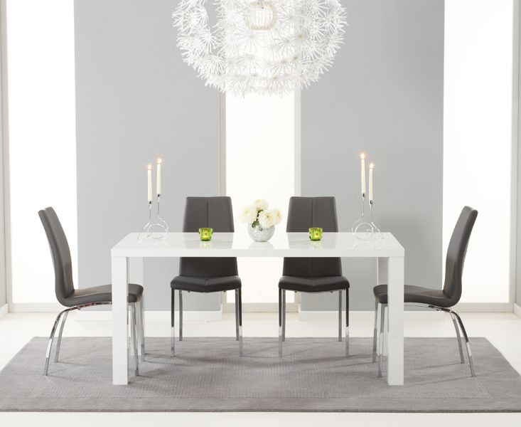 buy the atlanta 160cm white high gloss dining table with cavello chairs at oak furniture superstore. beautiful ideas. Home Design Ideas