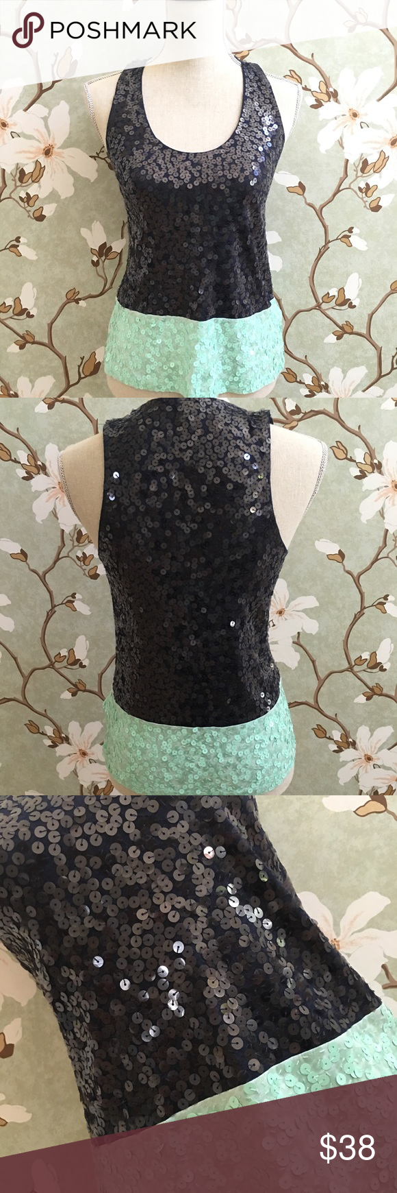 J.Crew Sequined Navy & Mint Color-Blocked Tank J. Crew sequined navy and mint color-block sleeveless top. True to size, stretchy fit. NWOT and never worn. J. Crew Tops Tank Tops