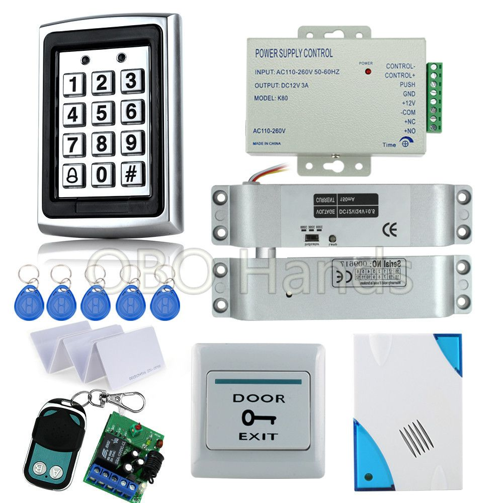 Full Kit Rfid Access Control System 7612 Electric Drop Bolt Lock Power Supply Door Exit Button Remote Control Access Control Access Control System Control Key