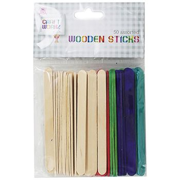 Assorted Wooden Sticks - Pack Of 50 | Craft Essentials at The Works ONLY £1