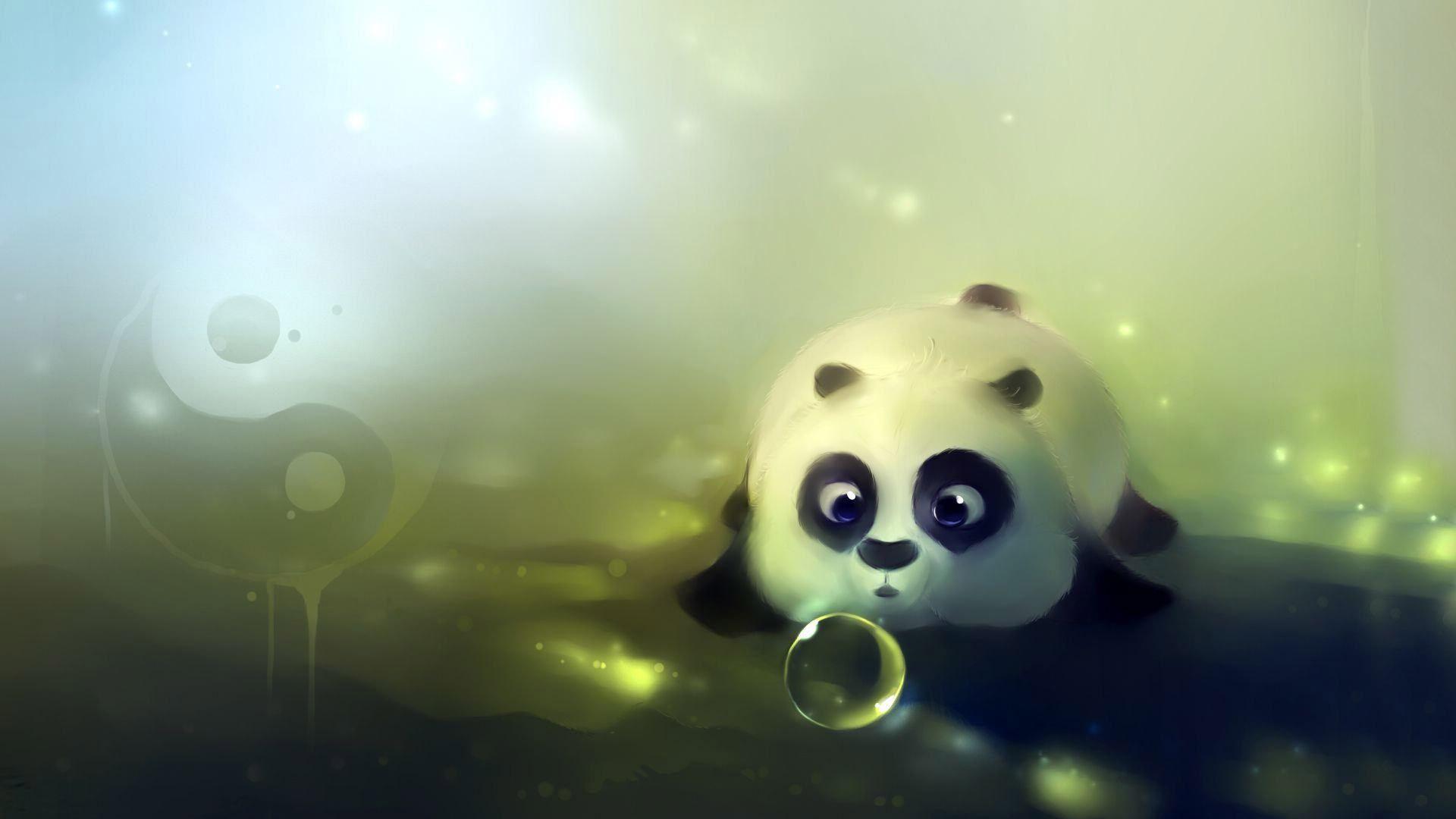 Cartoon Panda Looks Cute 3d Background Panda Wallpapers Hd Cute Wallpapers Panda Background