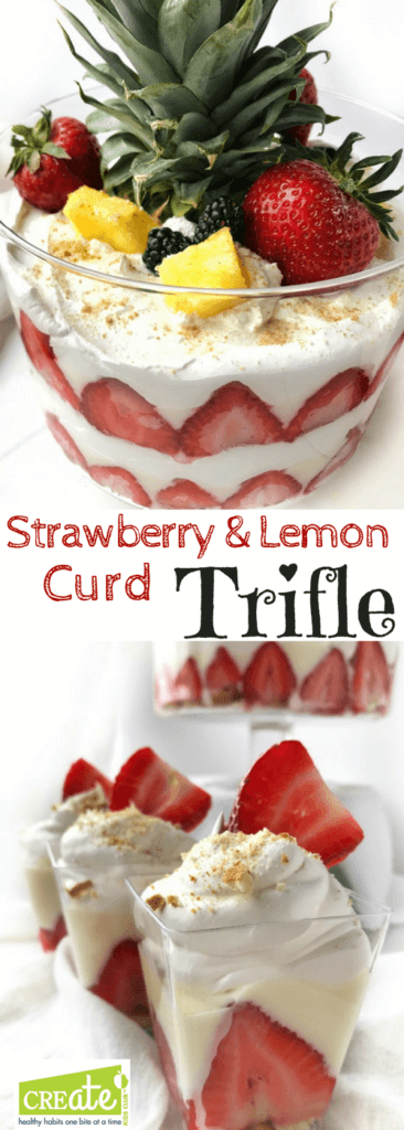 Strawberry Lemon Curd Trifle is the perfect beautiful and light dessert to bring to your next party. This layered fruit parfait dessert is simple to prepare with only 6 ingredients. Greek yogurt is flavored with lemon curd making a delicious sauce that is layered with Nilla Wafers, cool whip, and fruit. Click to see step by step instructions to make your dessert simply.