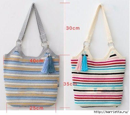 5dab3ecc7414 Летняя сумка-мешок крючком. Схемы вязания (8) (453x400, 118Kb ...