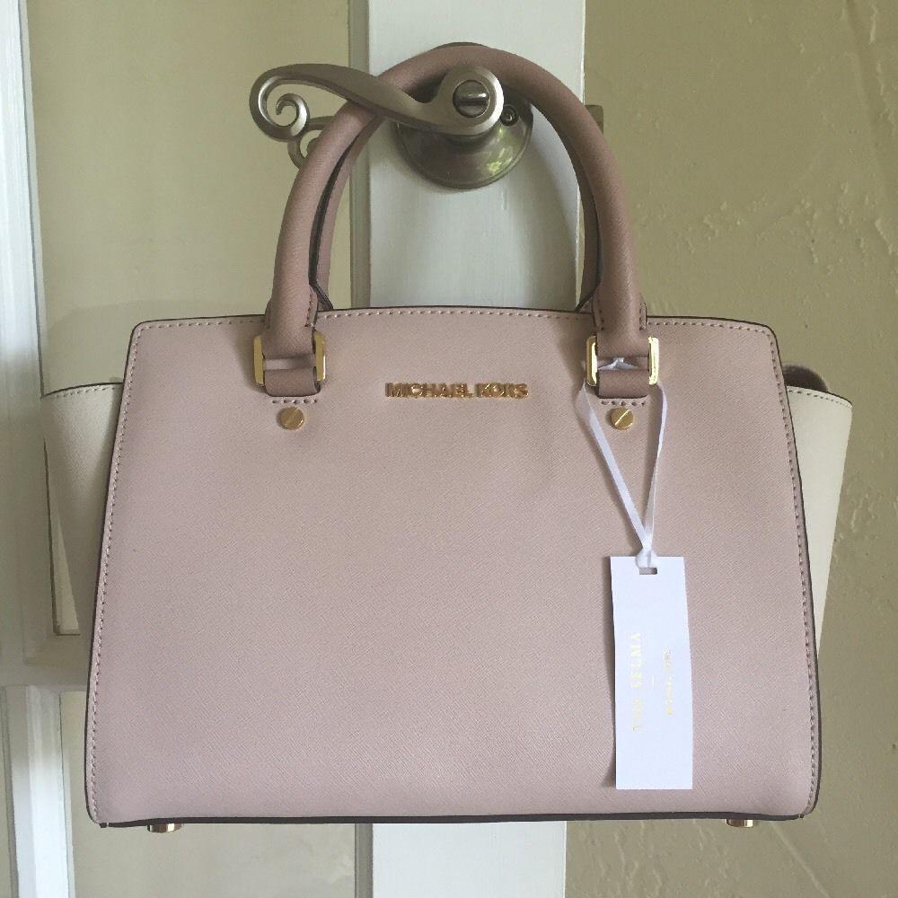 df0869b89a2a ... large tote 89e93 da00b coupon code for michael kors selma medium tz  satchel soft pink ecru fawn nwt 298 michaelkors ...