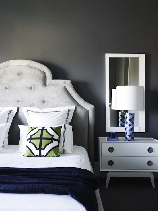Greg Natale: Contemporary bedroom with smoky gray wall color with ...