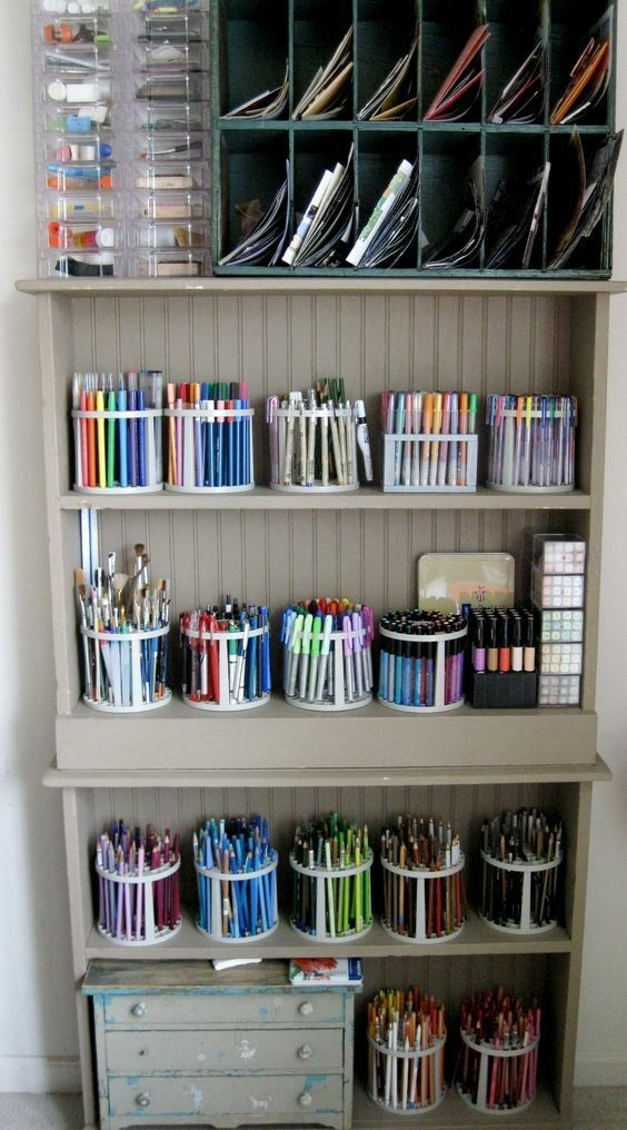 Beautifully organized craft supplies - Use brush holders to keep pens and other ... #storagesolutions