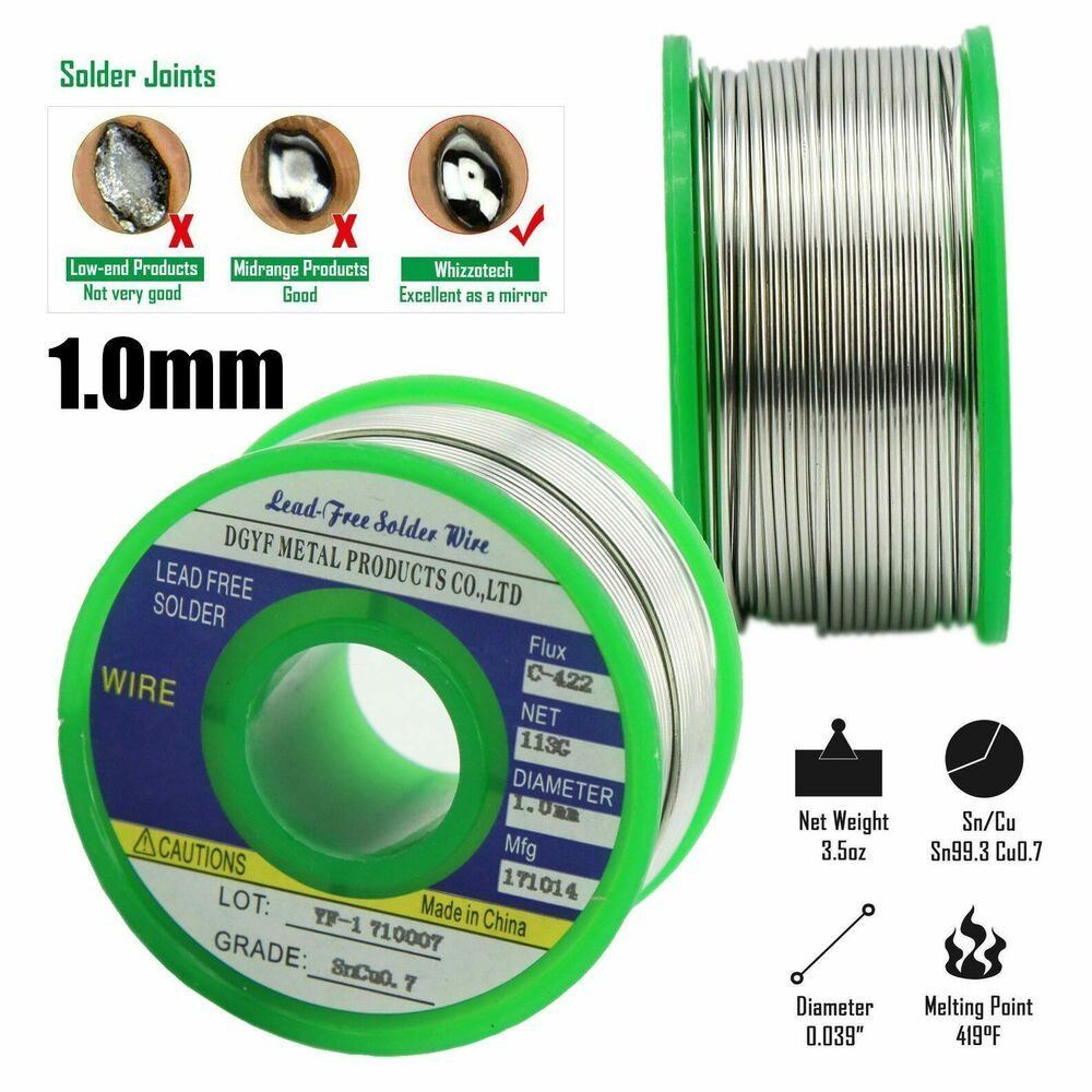Lead Free Solder Wire with Rosin Core 1mm Sn99/%Ag03/%Cu07/% flux Silver 100 Grams