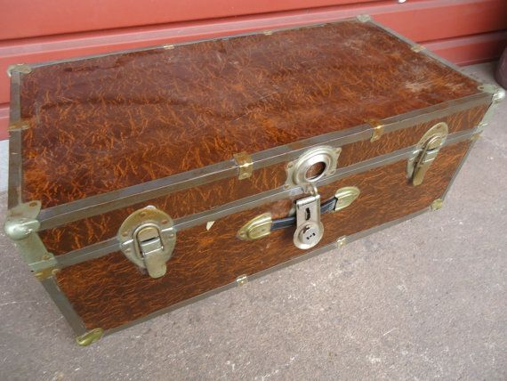 Vintage Brown Trunk T 46 Long Lock Steamer By WildBoarDesigns